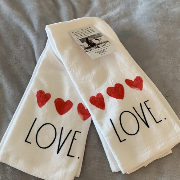 """Rae Dunn Set of 2 Kitchen Towels """"Love"""" - …"""